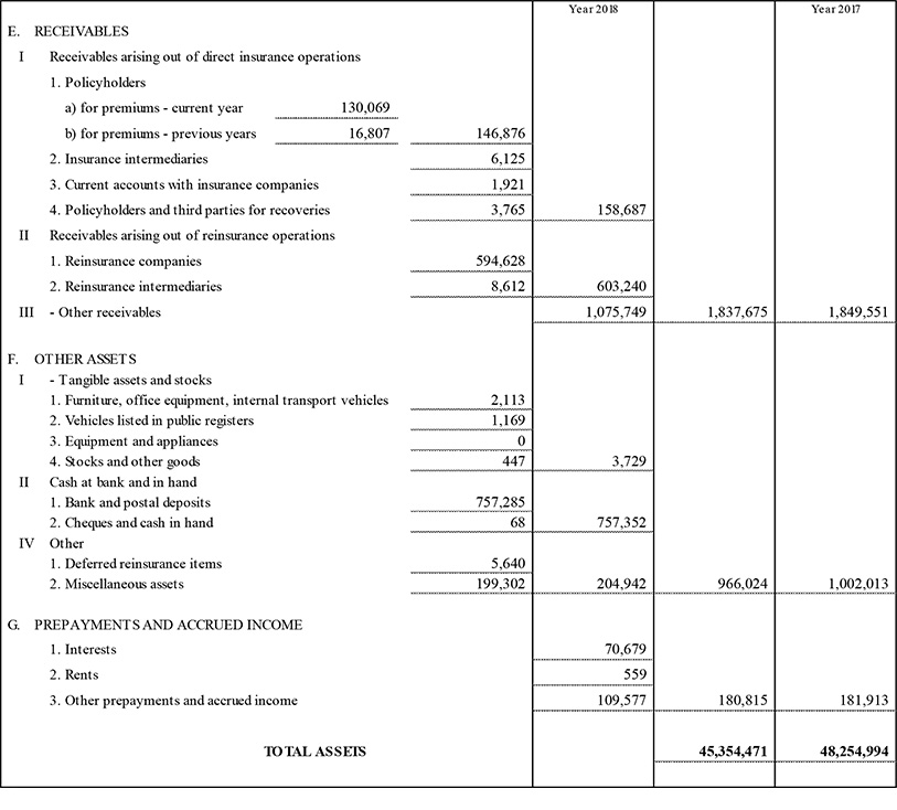 Parent Company's balance sheet and income statement